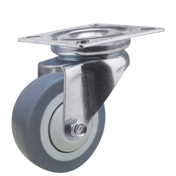 Колесо поворотное 50 мм. на площадке серая термопластичная резина