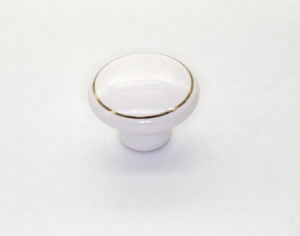 Ручка мебельная кнопка RK.1427.WT.F20 золотое кольцо