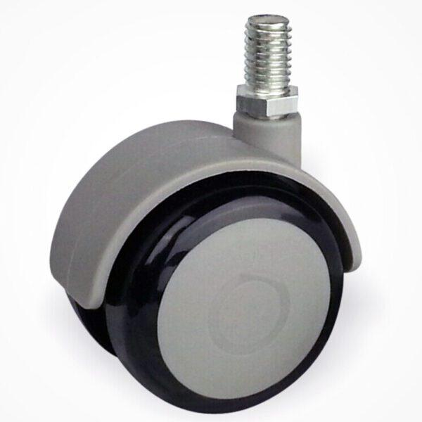 Колесо поворотное D 50 мм на штыре М8 колесо , обрезиненное ,белое/черное