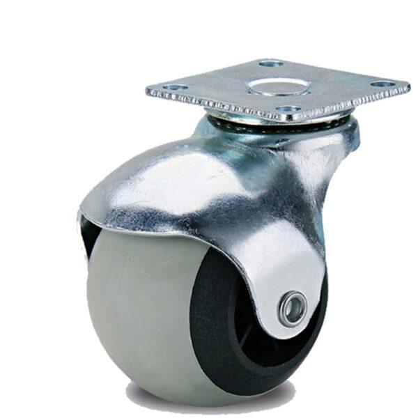 Колесо поворотное 40 мм. на площадке шар серая термопластичная резина